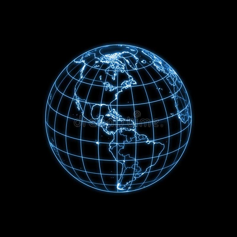 Esquema que brilla intensamente de la tierra del globo ilustración del vector