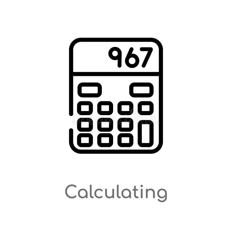 esquema que calcula el icono del vector línea simple negra aislada ejemplo del elemento del concepto electrónico del terraplén de stock de ilustración