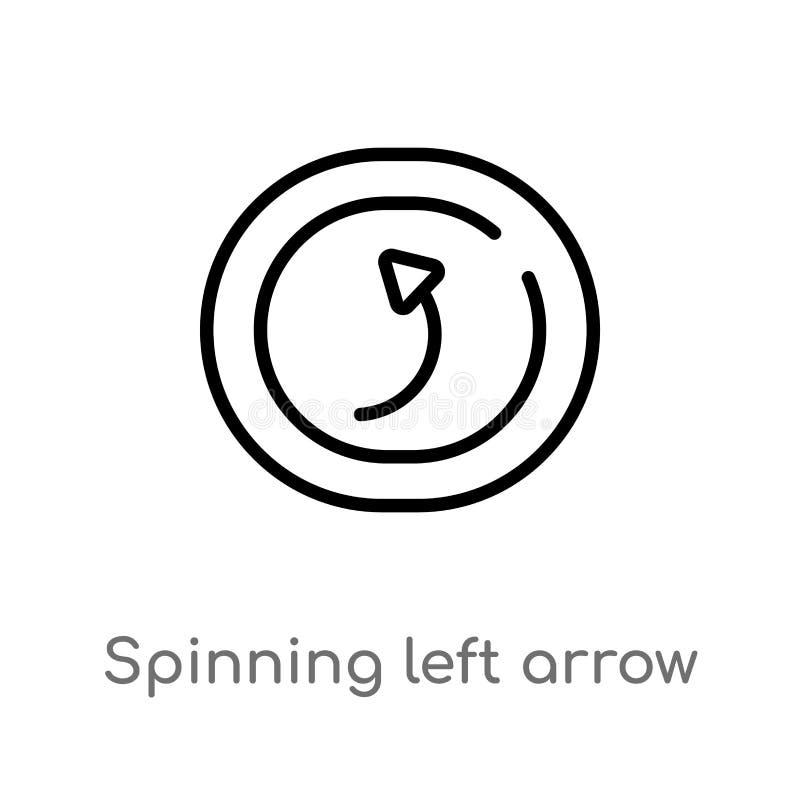 esquema que hace girar el icono del vector de la flecha izquierda l?nea simple negra aislada ejemplo del elemento del concepto de ilustración del vector