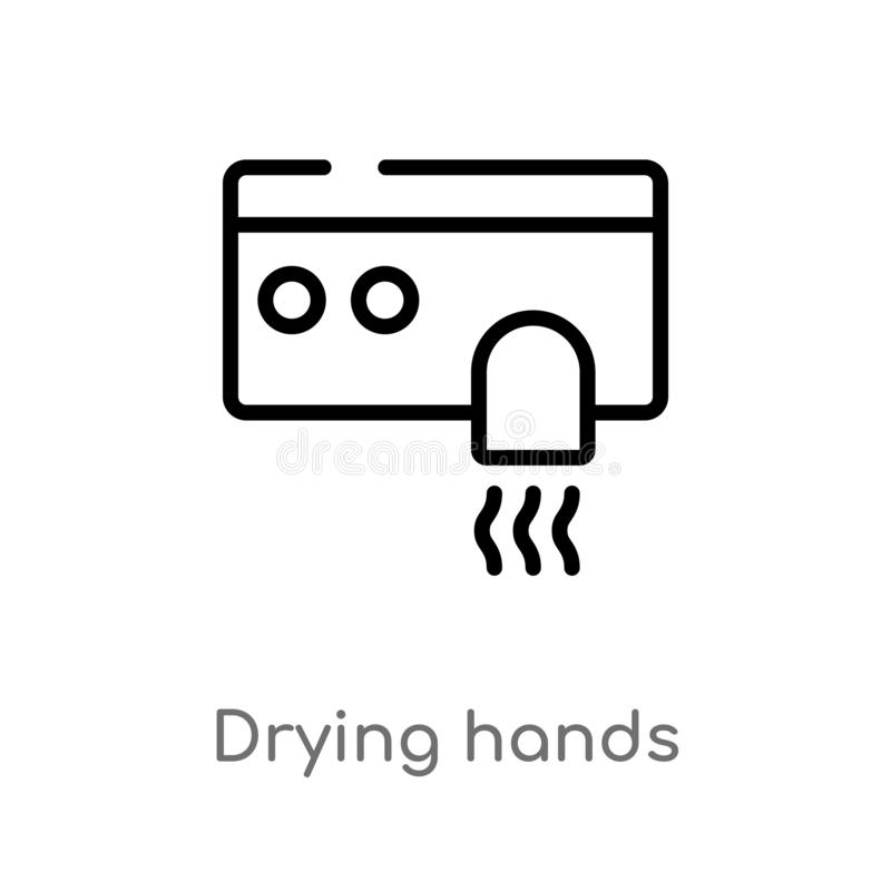 esquema que seca el icono del vector de las manos línea simple negra aislada ejemplo del elemento del concepto de la higiene Movi ilustración del vector