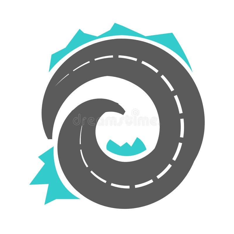 Esquema serpentino del camino aislado en el ejemplo blanco del vector stock de ilustración