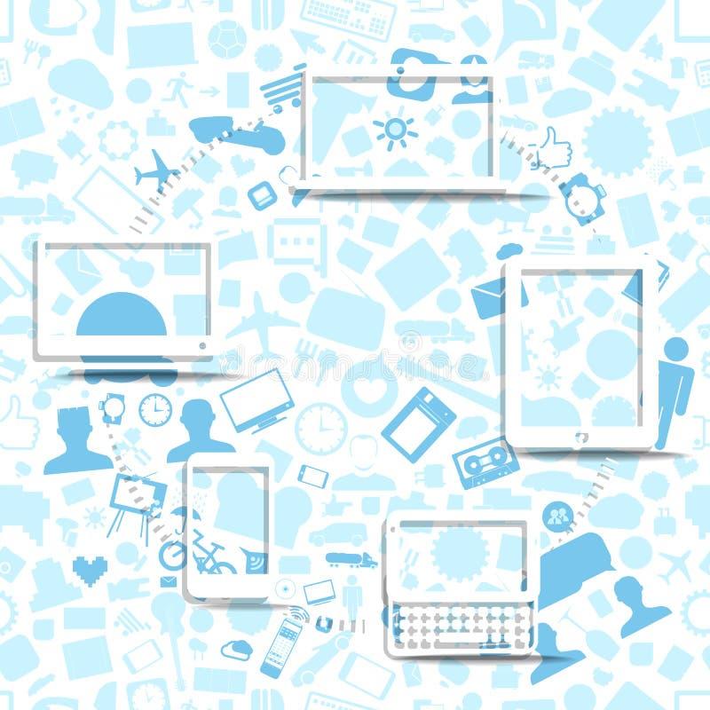 Esquema sin hilos del fransfer de la información libre illustration