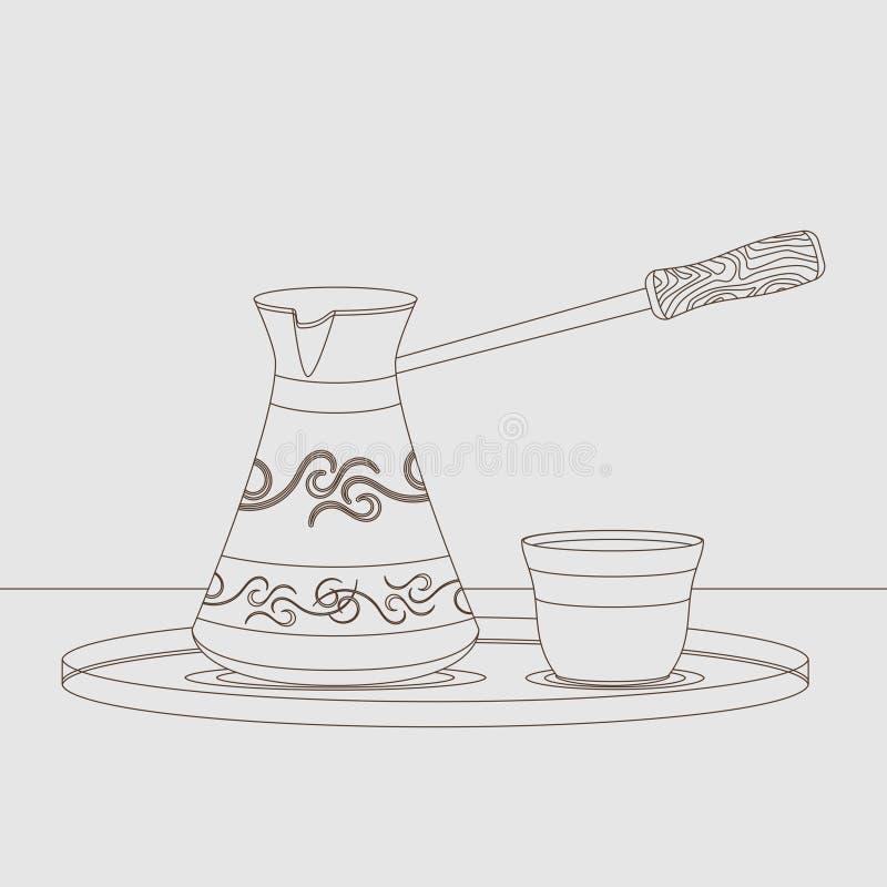 Esquema turco de Cezve y de Fincan stock de ilustración