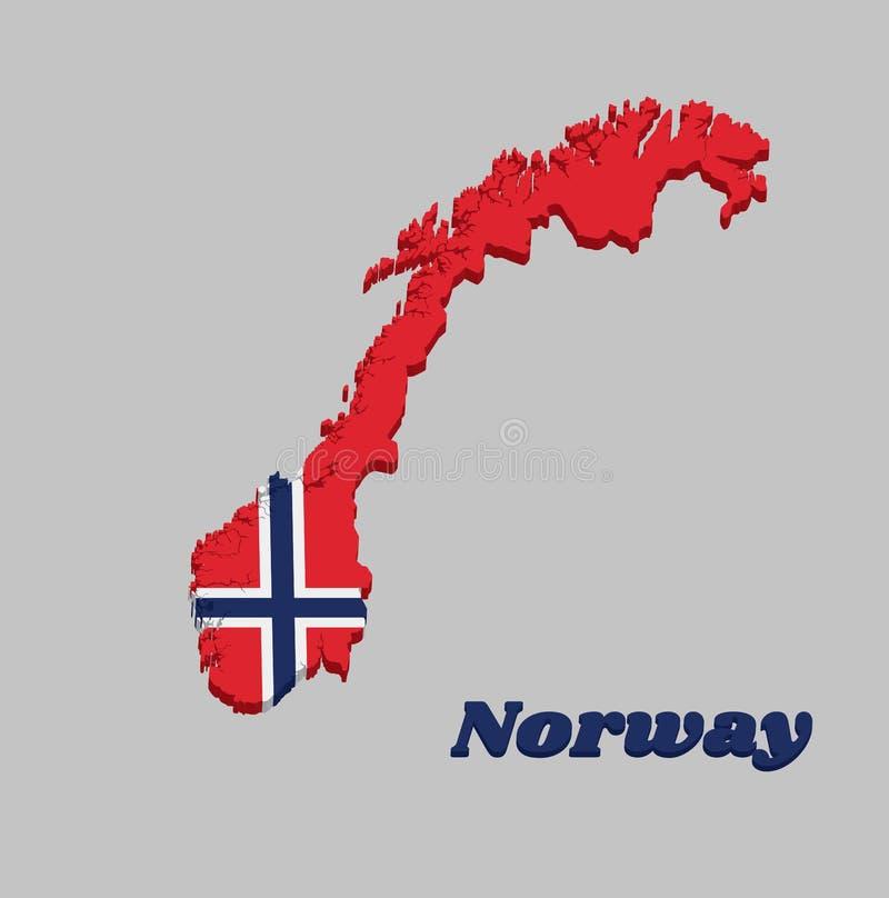 esquema y bandera de Noruega, una cruz nórdica azul blanco-fimbriada del mapa 3d en un campo rojo libre illustration