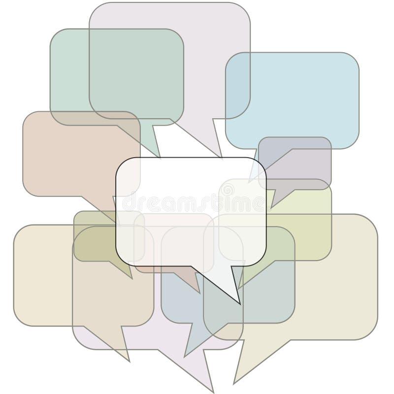 Esquemas de la burbuja del discurso en fondo de la comunicación stock de ilustración