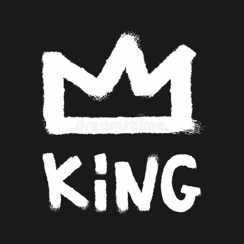 Esquemas de la corona y del rey manuscrito del texto dibujados a mano con un cepillo ?spero Grunge, acuarela, pintada, bosquejo,  stock de ilustración