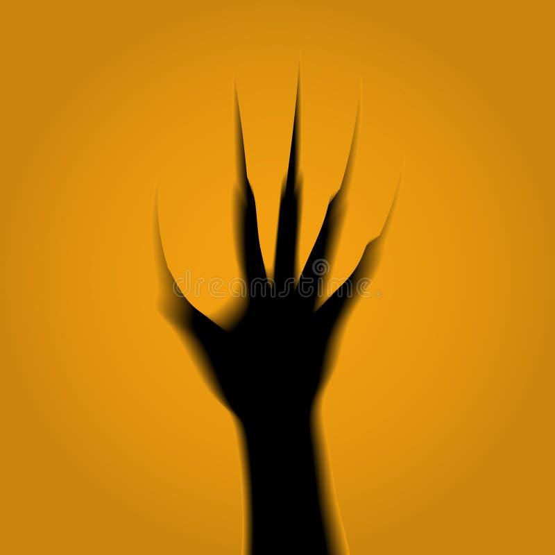 Esquemas de la mano de un zombi con las garras del sepulcro tallado en una calabaza El volumen, 3D ilustración del vector