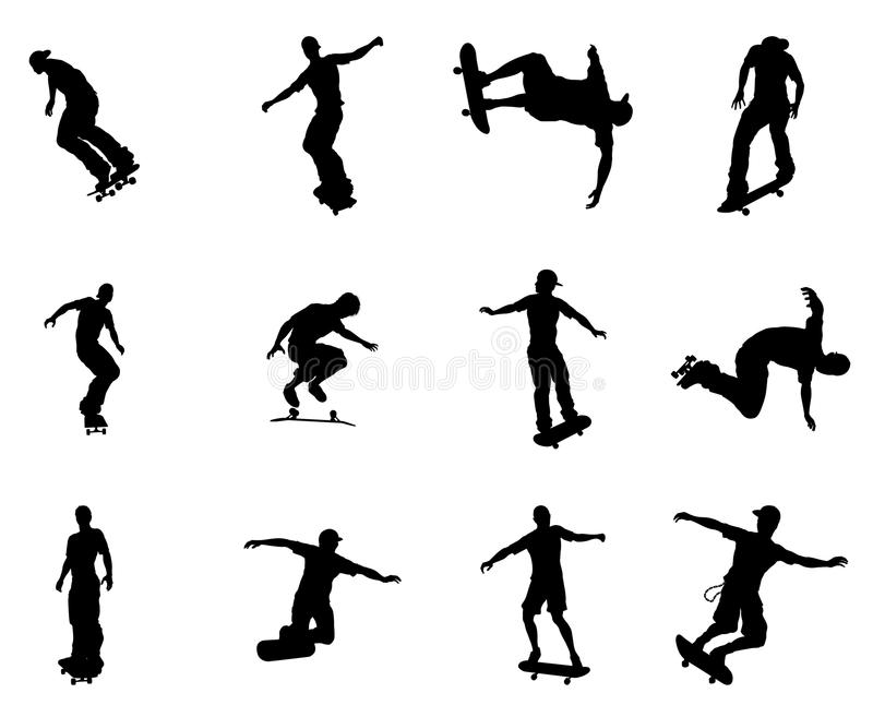 Esquemas de la silueta de skateres patinadores stock de ilustración