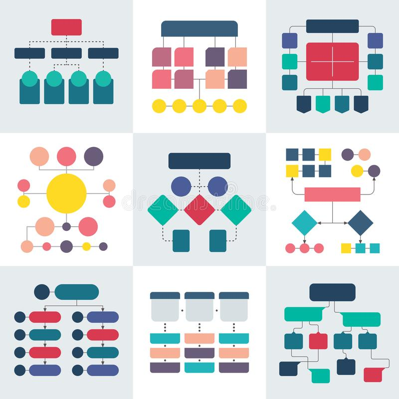 Esquemas del organigrama y diagramas de la jerarquía Elementos del vector de la carta del flujo de trabajo stock de ilustración