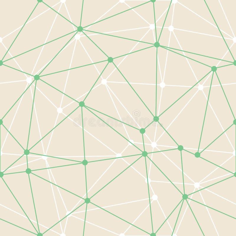 Esquemas finos verdes geométricos del triángulo del extracto del vector con el fondo de los puntos Conveniente para el papel pint libre illustration