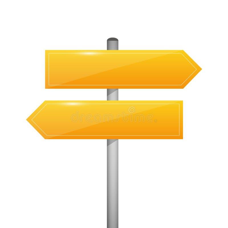 Esquerda e direito vazios amarelos da seta do sinal do letreiro do sentido ilustração do vetor