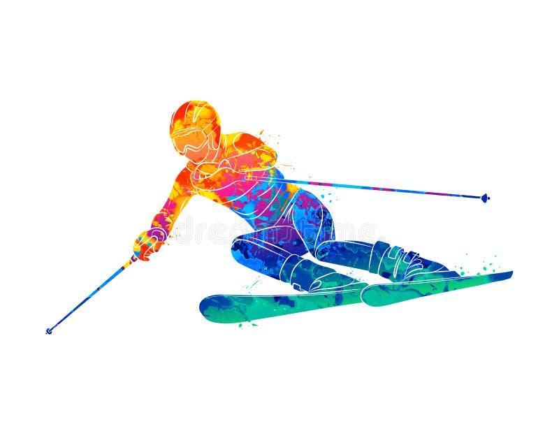 Esqui abstrato Esquiador gigante do slalom da descida do respingo das aquarelas Azul, placa, pensionista, embarque, exercício, ex ilustração stock