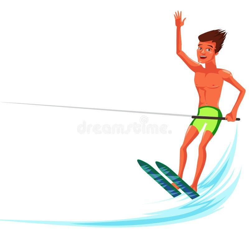 Esqui aquático bronzeado moreno do homem no oceano bonito ilustração do vetor