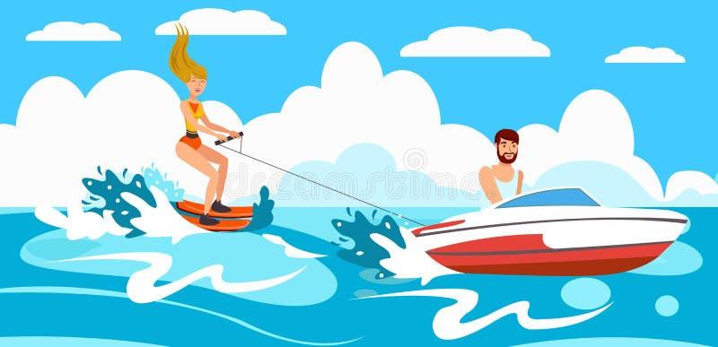 Esqui aquático da equitação da menina Ilustração do vetor ilustração stock