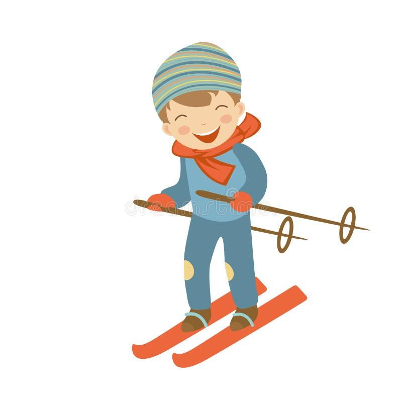 Esqui bonito do rapaz pequeno ilustração do vetor