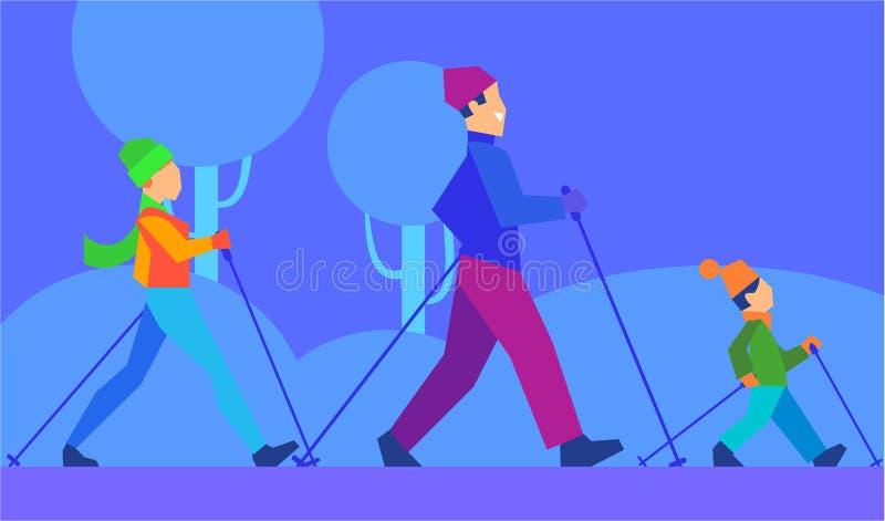 Esqui com conceito do vetor da família no projeto liso ilustração do vetor