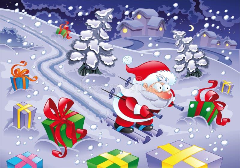 Esqui de Papai Noel na noite. ilustração royalty free