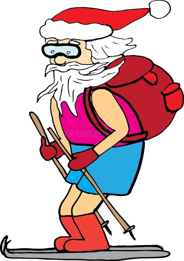 Esqui de Santa Claus nas cuecas caráter do vetor, elemento do Natal para cartazes e cópias imagens de stock
