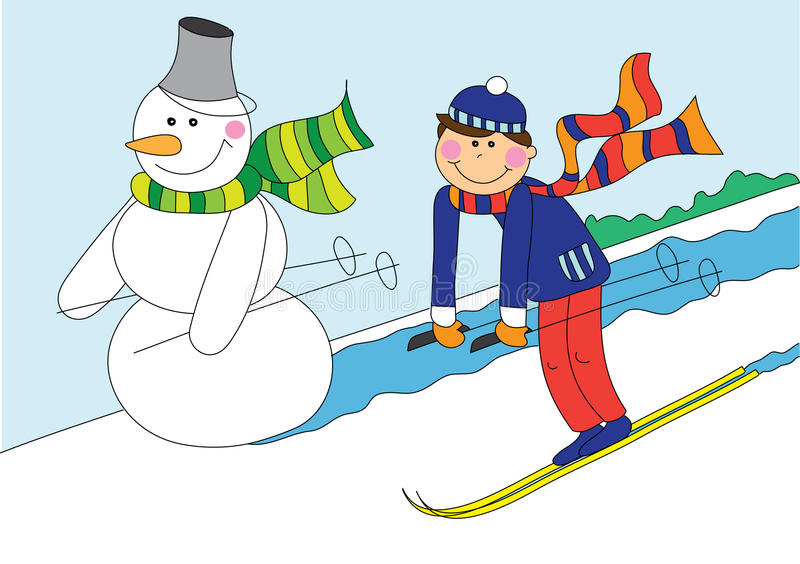Esqui do boneco de neve e do menino ilustração royalty free