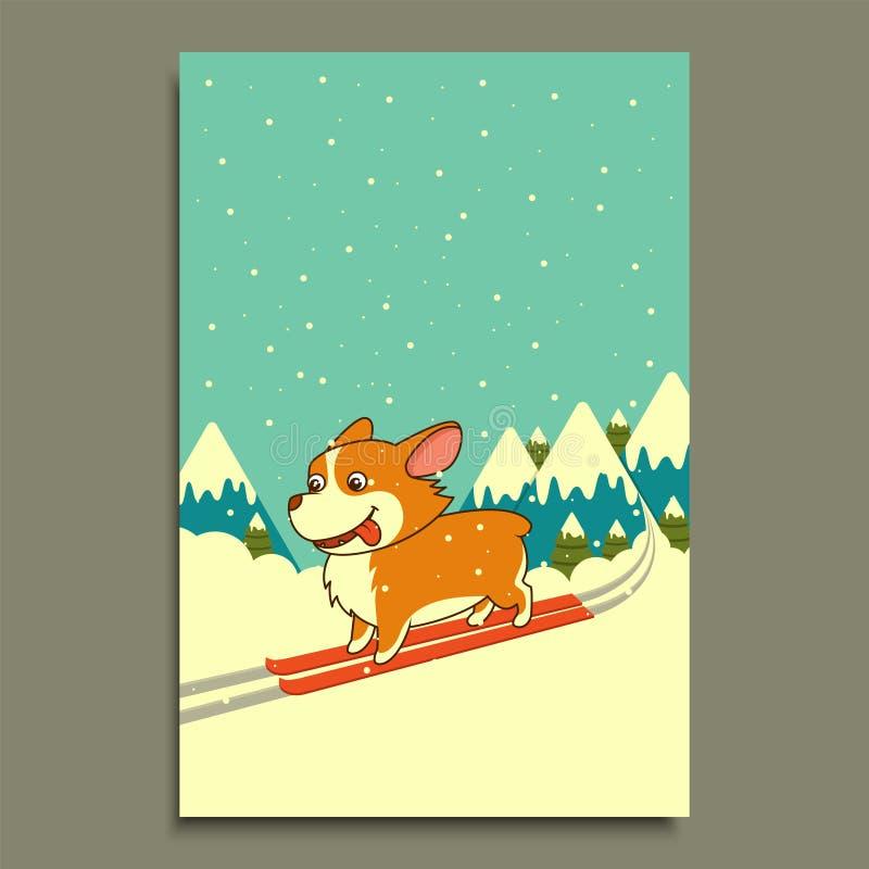 Esqui do cão do vetor no fundo das montanhas do inverno Cão do corgi de Galês Molde do cartão