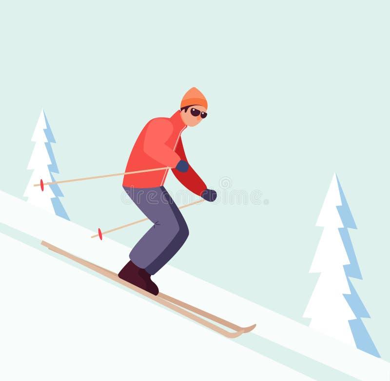 Esqui do homem em declive ilustração royalty free