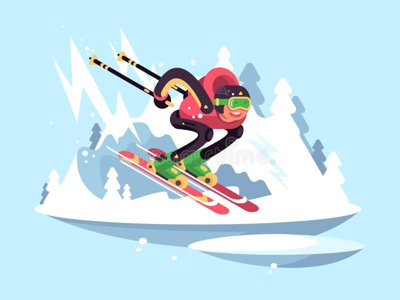 Esqui do homem no inverno ilustração do vetor