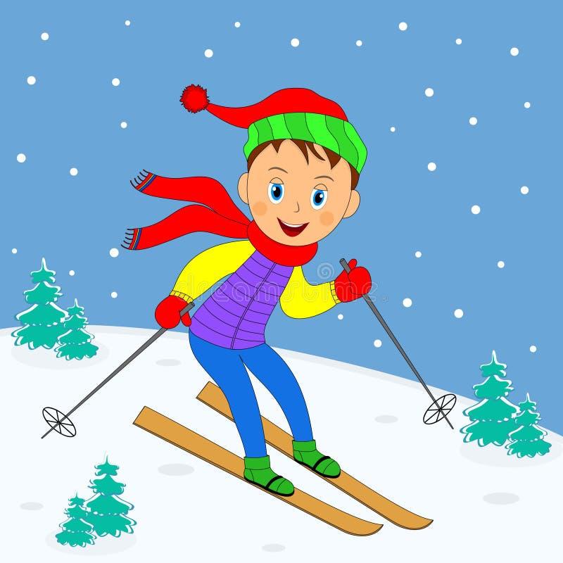 Esqui do menino em uma paisagem do inverno ilustração stock