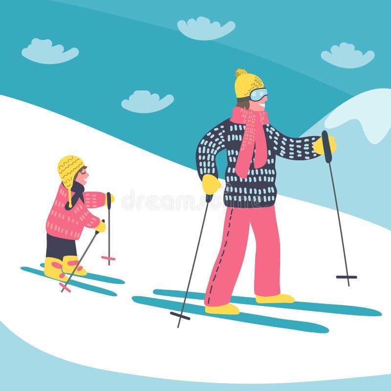 Esqui do pai com criança ilustração royalty free