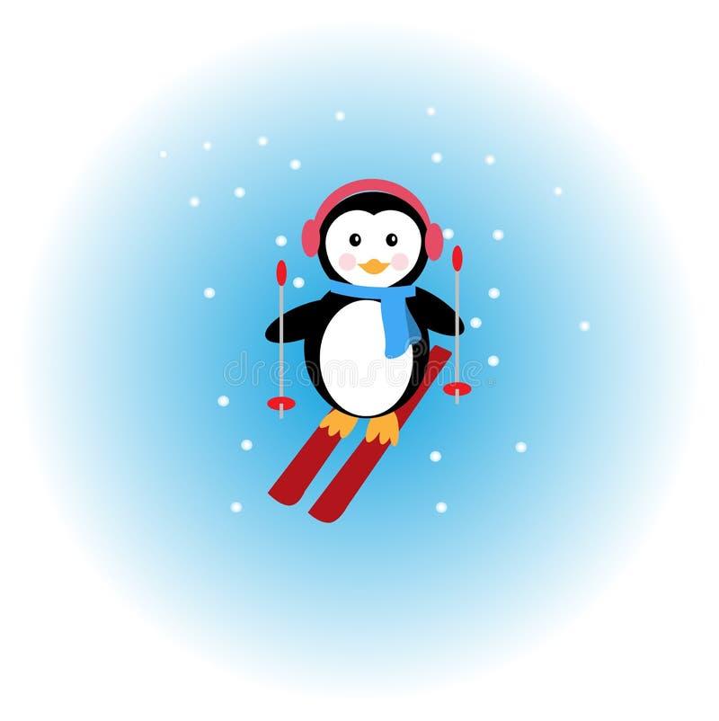 Esqui do pinguim na neve ilustração royalty free