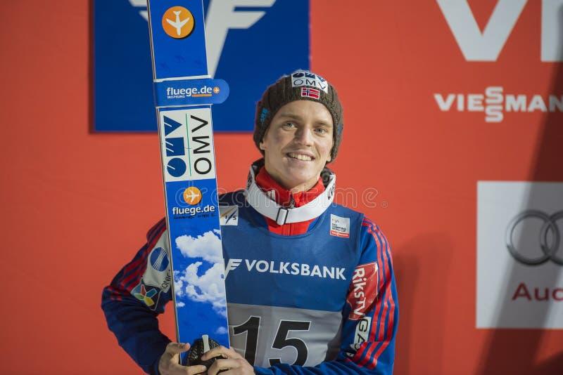 Esqui do WC que voa Vikersund (Noruega) o 14 de fevereiro de 2015 (da ?a metade foto de stock royalty free