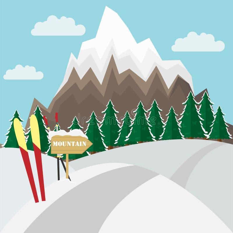Esqui do witn do fundo da paisagem da montanha do inverno na neve ilustração stock