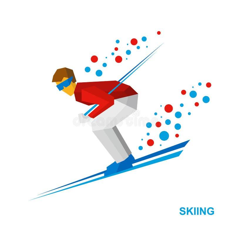 Esqui Esquiador dos desenhos animados em branco e no vermelho que correm para baixo ilustração do vetor