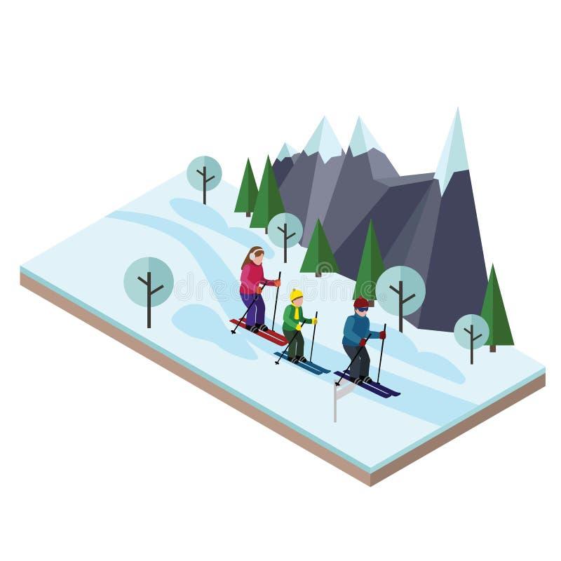 Esqui feliz isométrico da família Esqui do corta-mato, esporte de inverno Jogos de Olimpic, estilo de vida da recreação, velocida ilustração royalty free