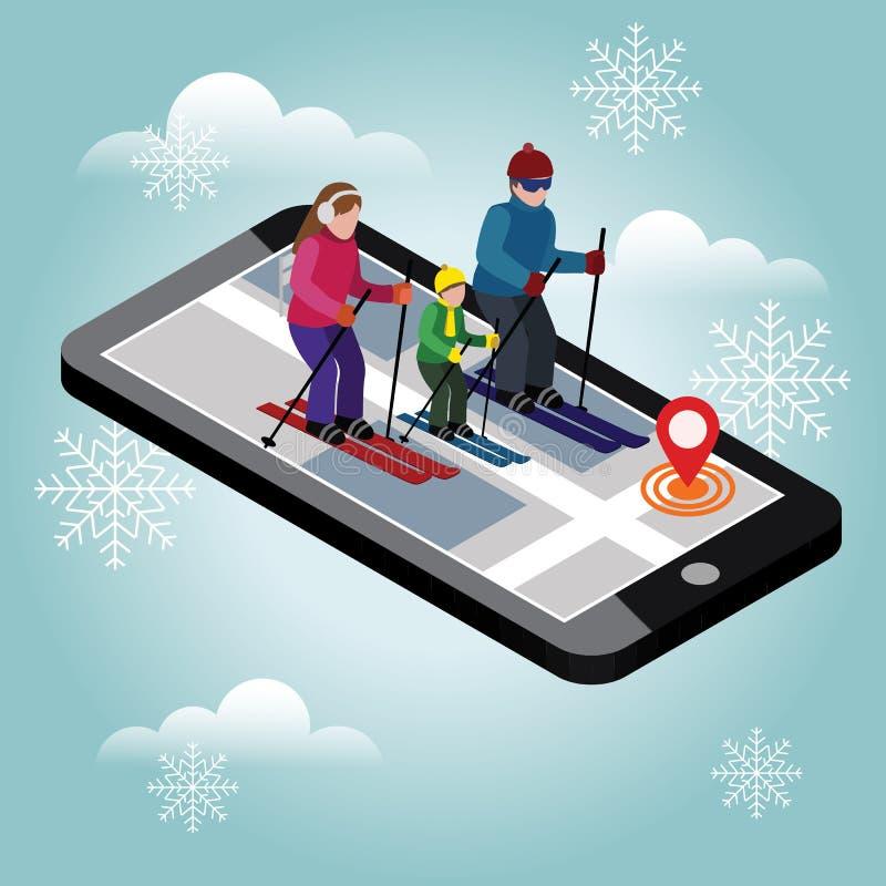 Esqui feliz isométrico da família Pesquisa pelo esqui do corta-mato na cidade Esporte de inverno Navegação móvel Olimpic ilustração stock