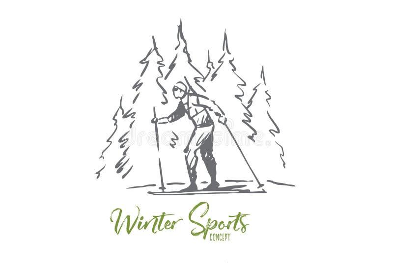 Esqui, inverno, floresta, esporte, conceito extremo Vetor isolado tirado m?o ilustração stock