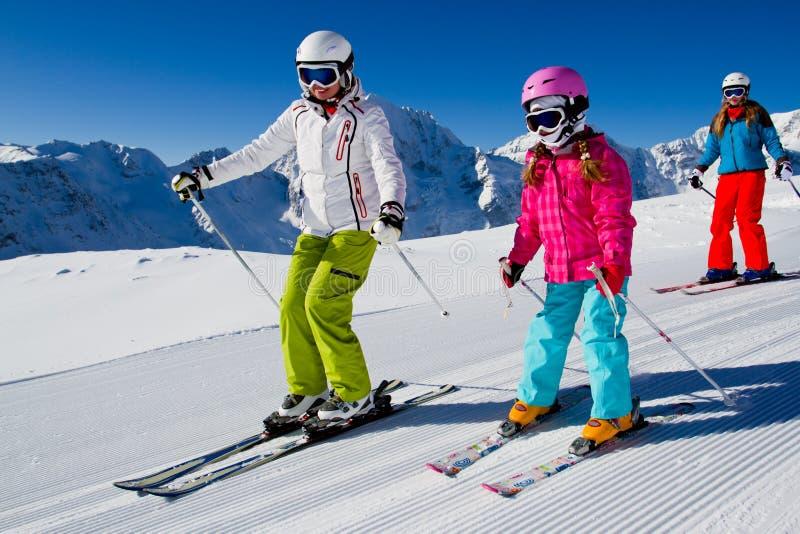 Esqui, lição do esqui imagens de stock
