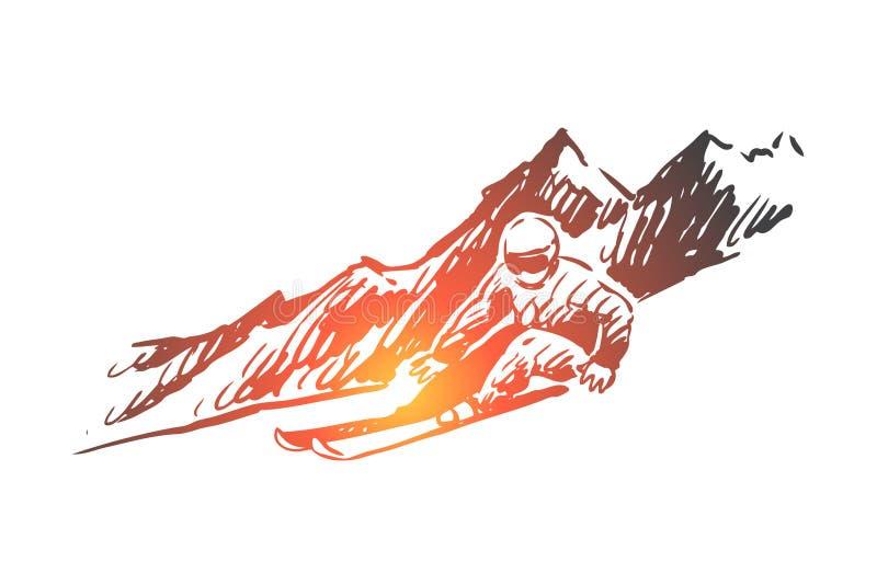 Esqui, neve, inverno, esporte, conceito extremo Vetor isolado tirado m?o ilustração royalty free