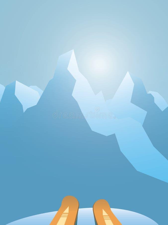 Esqui no conceito do vetor das montanhas com primeira opinião da pessoa em esquis e nas montanhas Exterior, ativo, saudável ilustração stock