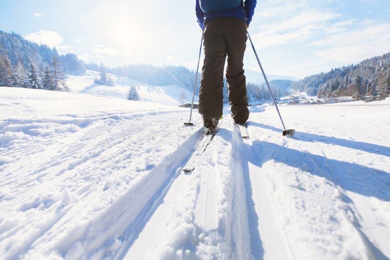 Esqui no inverno fotografia de stock