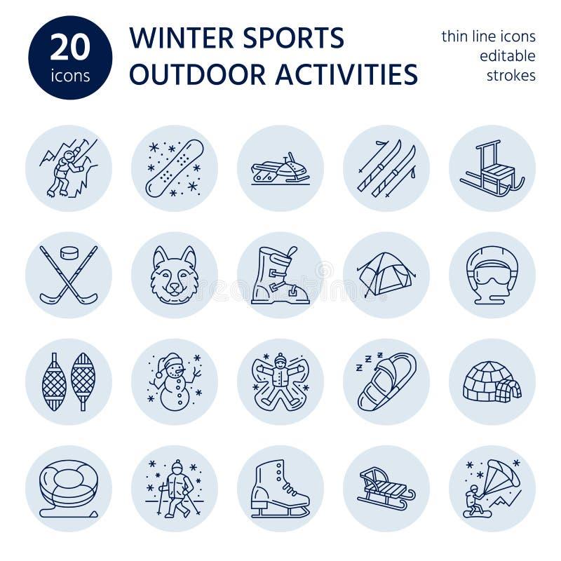 Esqui, snowboard, patins, tubulação, gelo linha ícones do esporte de inverno que kiting, da escalada e o outro ilustração stock