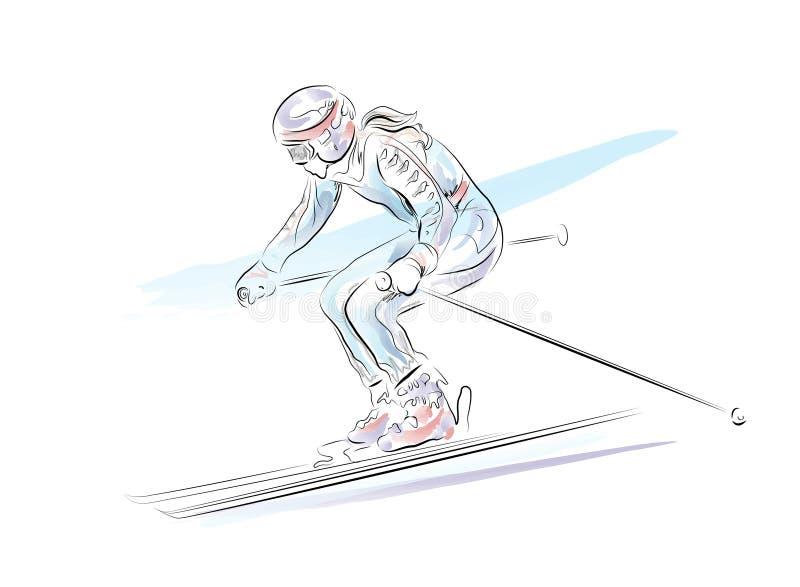 Esquiador stock de ilustración