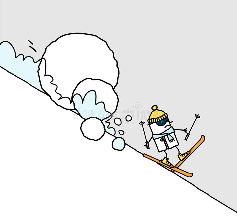 Esquiador & avalancha ilustração royalty free