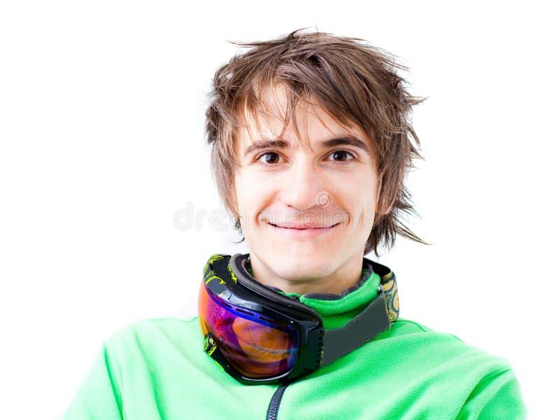 Esquiador ativo novo com máscara imagens de stock