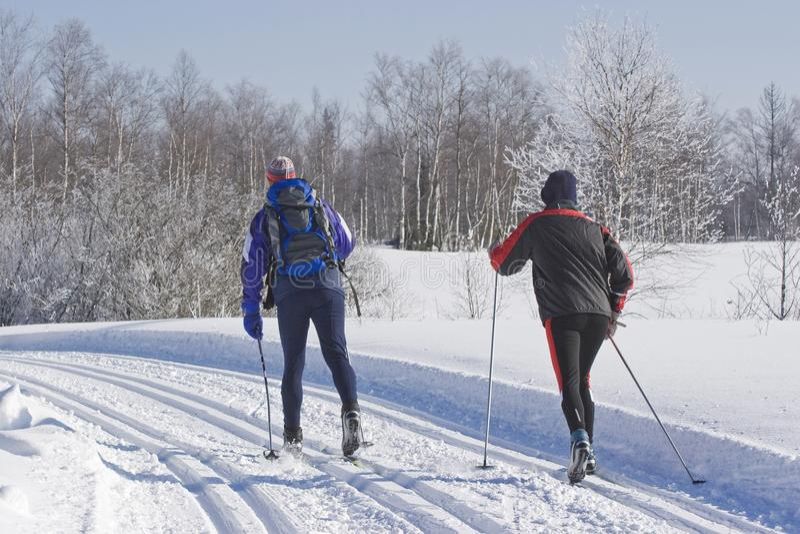 Esquiador a campo través en la pista fotografía de archivo