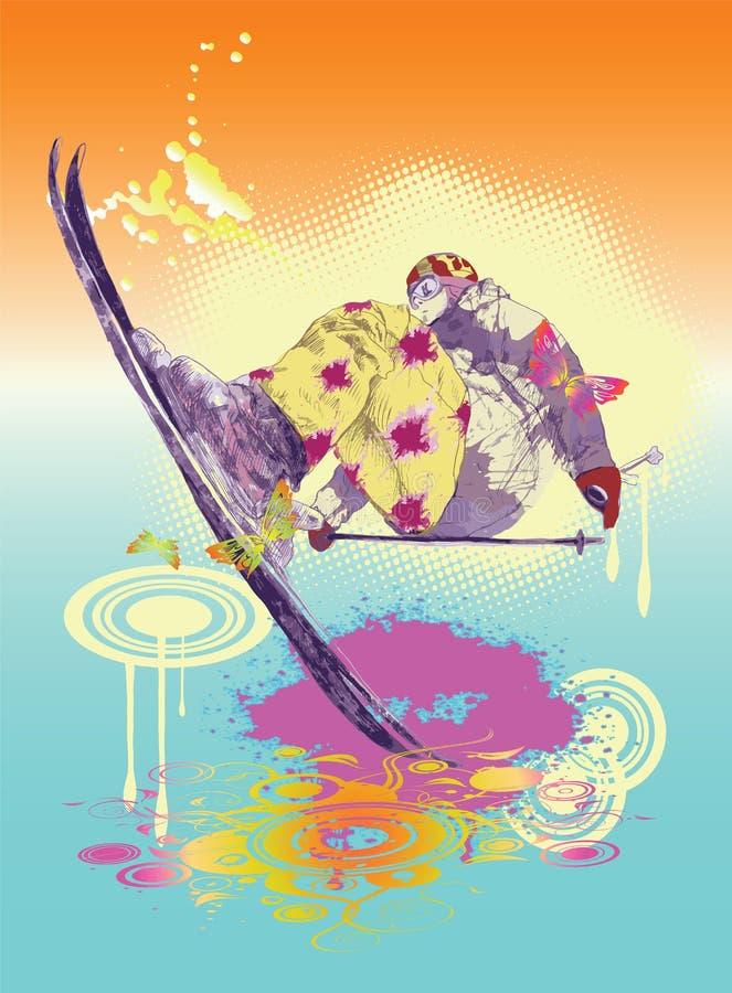 Esquiador colorido ilustração stock