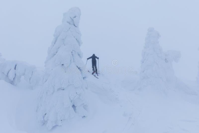 Esquiador de Backcountry que empuja a través de la niebla en una cuesta nevosa Esquí que viaja en condiciones del invierno crudo  fotos de archivo