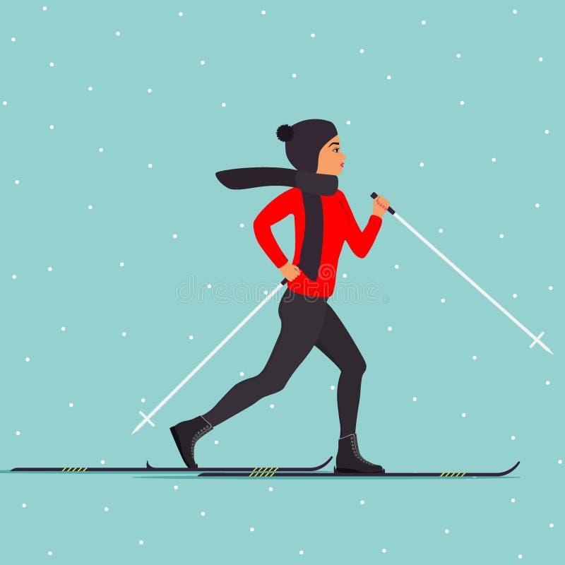 Esquiador de la mujer en el movimiento Mujer del esquí del campo a través Mujer joven en ropa del invierno en los cielos Ejemplo  stock de ilustración
