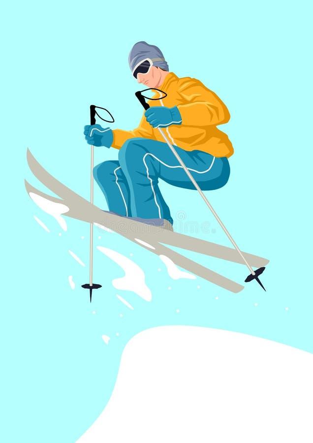 Esquiador de salto ilustração stock