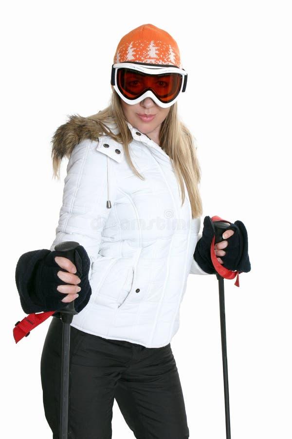 Esquiador de sexo femenino imagen de archivo