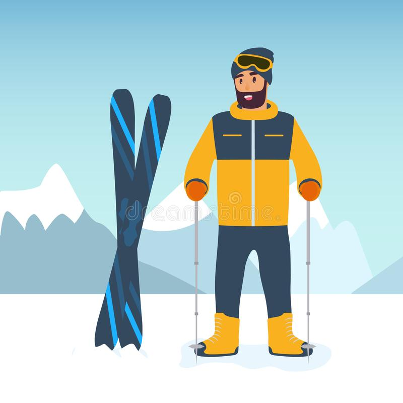 Esquiador do desportista dos desenhos animados na perspectiva das montanhas neve-tampadas O conceito do esporte e da competição l ilustração royalty free
